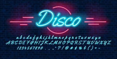 Neon light blue font hand drawin, english alphabet uppercase and lowercase letters and numbers, on brick background, vector illustration Illustration
