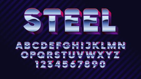 Retro futuristic latin font, shiny chrome letters and numbers, stylish retro synth wave alphabet metallic effect in 80s style vector font