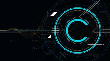 Copyright symbol, protection of intellectual property, tech futuristic technology, sci-fi vector illustration Illustration