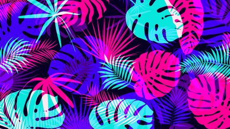 Creative background with bright tropical leaves with an overlap effect Vector poster for your design