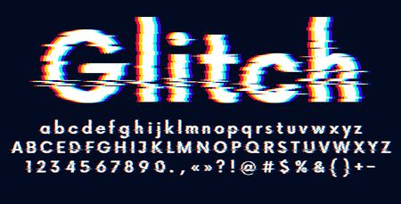 Digital glitched alphabet distorted screen error effect, Latin uppercase and lowercase letters Glitch typeface, vector illustration Ilustração