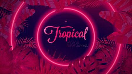 Futuristic gradient ultraviolet spectrum on dark background, Glowing geometric shapes reflex on tropical leaves, Vector poster for your design