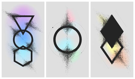 Geometric shapes dissolve into dust on a gradient background, splitting particles spray effect, set of vector illustrations 16-9