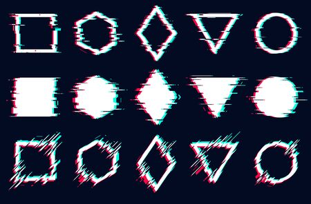 Glitched square, hexagon, rhombus, triangle and circle frames, Vector glitch set digital noise defect