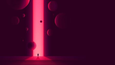 Human figure in front of portal to another dimension, space gate with a bright pink glow and flying balls, futuristic abstraction 일러스트
