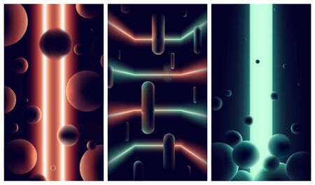 Abstract futuristic backgrounds with neon lights and lines in dark space, gradients orange and green spectrum vibrant colors, Retro vector illustrations cyberpunk space style of 80s and 90s