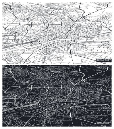 Aerial top view city map Frankfurt, black and white detailed plan, urban grid in perspective, vector illustration