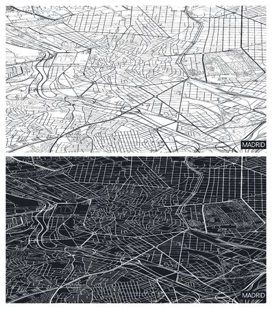 Aerial top view city map Madrid, black and white detailed plan, urban grid in perspective, vector illustration