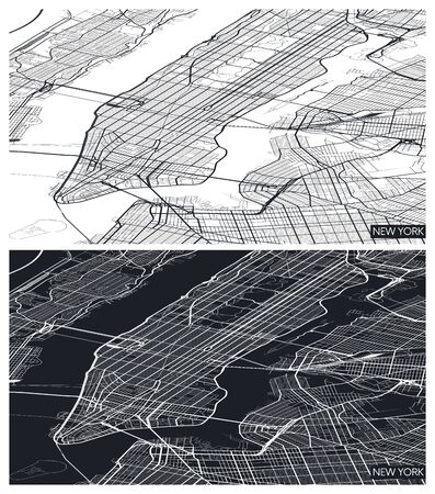 Aerial top view city map New York, black and white detailed plan, urban grid in perspective, vector illustration 일러스트