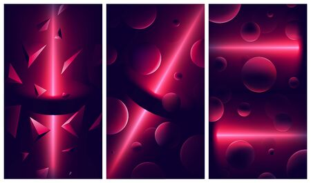 Atmospheric vector backgrounds with red lights and reflections on geometric shapes, cyberpunk space with neon lights, abstract space, futuristic illustrations Illustration