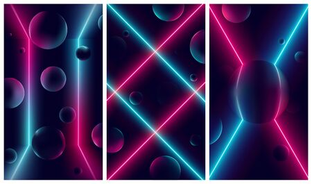 Bright glowing pink and blue neon lines, futuristic cyberbank backgrounds with illuminations on geometric figures, vector retro illustrations in the style of the 80s and 90s Illustration