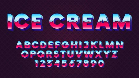 Bright retro font with blue and pink gradient in 80s style vector font
