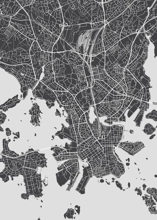 City map Helsinki, monochrome detailed plan of the city, rivers and streets, vector illustration