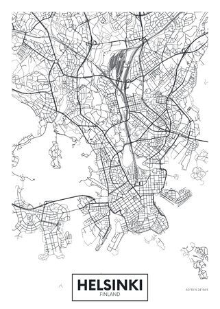 City map Helsinki, travel vector poster design detailed plan of the city, rivers and streets