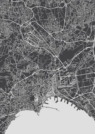 City map Naples, monochrome detailed plan, vector illustration black and white city plan Ilustrace