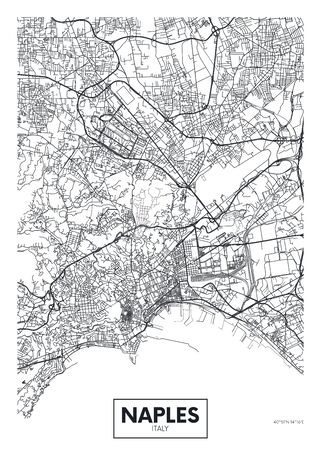 City map Naples, travel vector poster design art for interior decoration