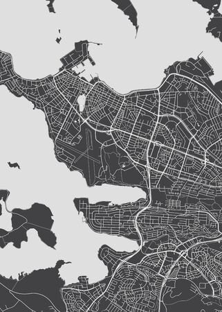 City map Reykjavik, monochrome detailed plan of the city, rivers and streets, vector illustration