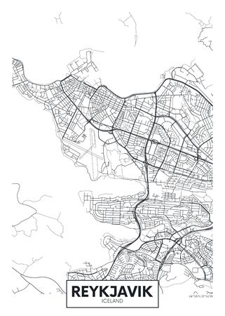 City map Reykjavik, travel vector poster design detailed plan of the city, rivers and streets Illusztráció