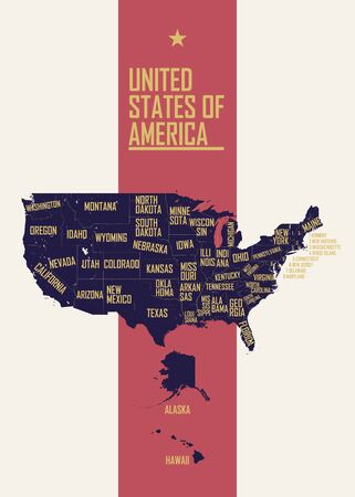 Color poster with detailed map of the United States of America, with state names, travel to USA concept vector illustration Reklamní fotografie