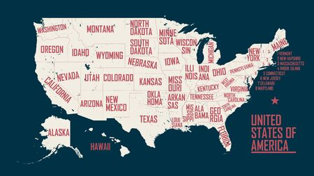Map of the United States of America, with borders and state names, Detailed vector illustration Stock Photo