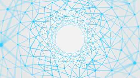 Abstract vector polygons plexus background with connected lines and dots forming a circle, digital data visualization 向量圖像