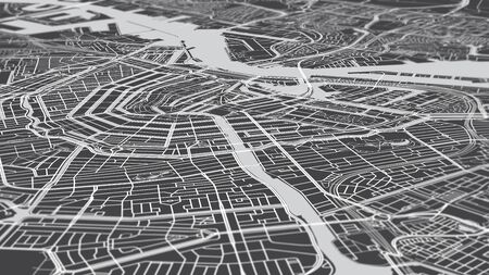 Aerial view city map Amsterdam, monochrome detailed plan streets and canals, urban grid in perspective