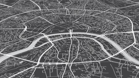 Aerial view city map Moscow, monochrome detailed plan, urban grid in perspective 스톡 콘텐츠