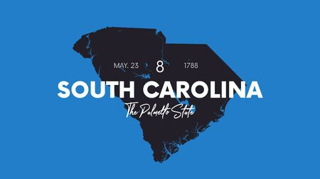 8 of 50 states of the United States with a name, nickname, and date admitted to the Union, Detailed Vector South Carolina Map for printing posters, postcards and t-shirts Illustration