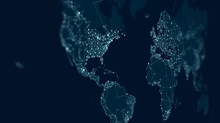 Communications network map of the world, monitor screen in perspective for presentations Stok Fotoğraf