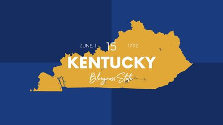 15 of 50 states of the United States with a name, nickname, and date admitted to the Union, Detailed Vector Kentucky Map for printing posters, postcards and t-shirts Illustration