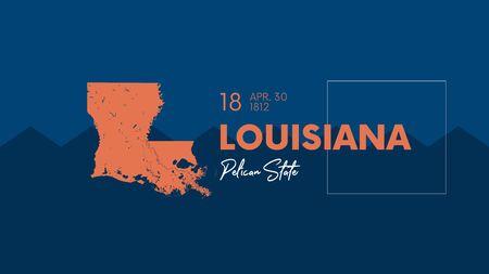 18 des 50 États des États-Unis avec un nom, un surnom et une date d'admission dans l'Union, carte vectorielle détaillée de la Louisiane pour l'impression d'affiches, de cartes postales et de t-shirts Vecteurs