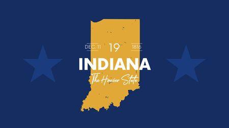 19 dei 50 stati degli Stati Uniti con un nome, un soprannome e una data ammessi all'Unione, mappa dettagliata dell'Indiana vettoriale per la stampa di poster, cartoline e t-shirt Vettoriali