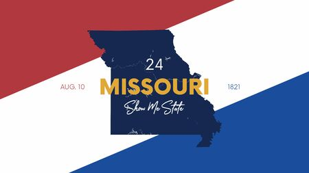 24 of 50 states of the United States with a name, nickname, and date admitted to the Union, Detailed Vector Missouri Map for printing posters, postcards and t-shirts Illusztráció