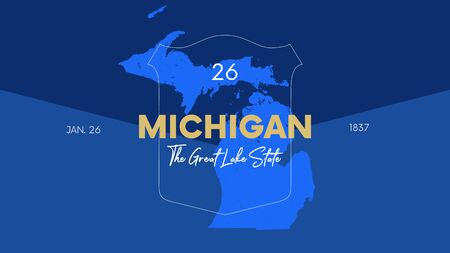 26 of 50 states of the United States with a name, nickname, and date admitted to the Union, Detailed Vector Michigan Map for printing posters, postcards and t-shirts  イラスト・ベクター素材
