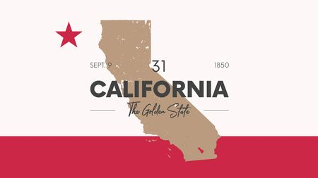 31 of 50 states of the United States with a name, nickname, and date admitted to the Union, Detailed Vector California Map for printing posters, postcards and t-shirts