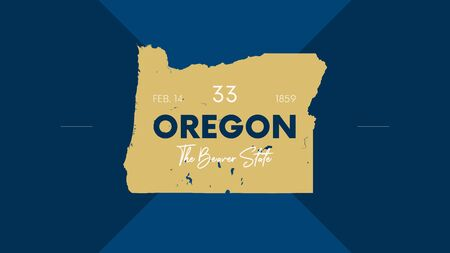 33 of 50 states of the United States with a name, nickname, and date admitted to the Union, Detailed Vector Oregon Map for printing posters, postcards and t-shirts