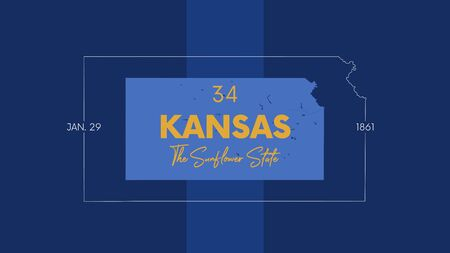 34 of 50 states of the United States with a name, nickname, and date admitted to the Union, Detailed Vector Kansas Map for printing posters, postcards and t-shirts
