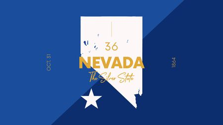 36 of 50 states of the United States with a name, nickname, and date admitted to the Union, Detailed Vector Nevada Map for printing posters, postcards and t-shirts Vektoros illusztráció