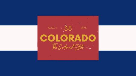 38 of 50 states of the United States with a name, nickname, and date admitted to the Union, Detailed Vector Colorado Map for printing posters, postcards and t-shirts Illustration