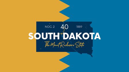 40 of 50 states of the United States with a name, nickname, and date admitted to the Union, Detailed Vector South Dakota Map for printing posters, postcards and t-shirts Vektoros illusztráció