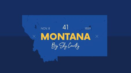 41 of 50 states of the United States with a name, nickname, and date admitted to the Union, Detailed Vector Montana Map for printing posters, postcards and t-shirts