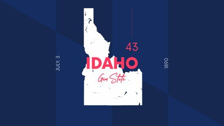 43 of 50 states of the United States with a name, nickname, and date admitted to the Union, Detailed Vector Idaho Map for printing posters, postcards and t-shirts 일러스트