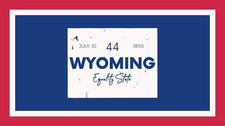 44 of 50 states of the United States with a name, nickname, and date admitted to the Union, Detailed Vector Wyoming Map for printing posters, postcards and t-shirts Illusztráció