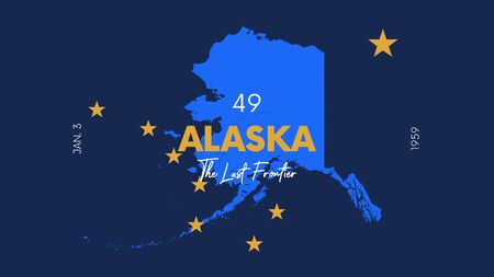 49 of 50 states of the United States with a name, nickname, and date admitted to the Union, Detailed Vector Alaska Map for printing posters, postcards and t-shirts