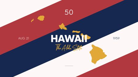 50 of 50 states of the United States with a name, nickname, and date admitted to the Union, Detailed Vector Hawaii Map for printing posters, postcards and t-shirts