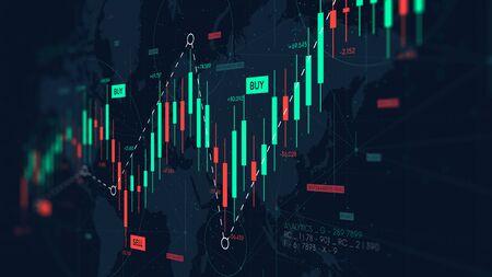 Graphique du tableau de bord des statistiques du forex, de l'analyse commerciale et financière, du taux de profit et des coûts, de l'écran du moniteur en perspective