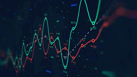 Réseau mondial de mégadonnées mondiales, courbe de profits et pertes financiers, arrière-plan pour les entreprises, écran de moniteur en perspective Banque d'images