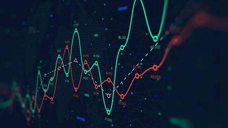 Red global de big data mundial, curva de pérdidas y ganancias financieras, antecedentes comerciales, pantalla de monitor en perspectiva Foto de archivo