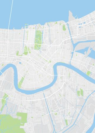 City map New Orleans, color detailed plan, vector illustration