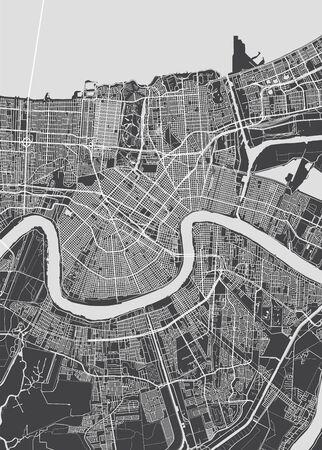 Mapa de la ciudad de Nueva Orleans, plan detallado monocromo, ilustración vectorial